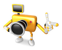 The Yellow Camera Character Taking the right hand is the best ge Royalty Free Stock Photo