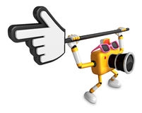 That Yellow Camera holding a large cursor indicate a direction. Stock Images