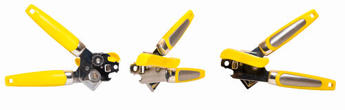 Yellow Can Opener Isolated 3 Views Royalty Free Stock Image