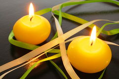 Yellow candle Royalty Free Stock Photo