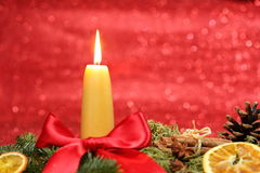 Yellow candle Royalty Free Stock Image