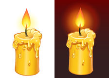 Yellow candle burning. Vector yellow candle burning on dark and light background Stock Images