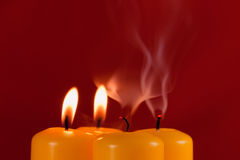 Yellow candles Royalty Free Stock Images