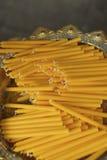 Yellow Candles Buddhist Temple Bangkok Thailand Stock Photos