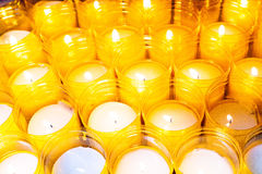 Yellow Candles. A foreground of yellow candles group Stock Image