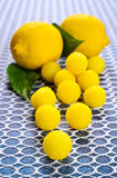 Yellow candy. In sugar, round shape. Selective focus royalty free stock photos