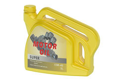 Yellow canister motor oil Royalty Free Stock Image