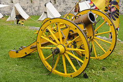 Yellow cannon and flag Stock Photo