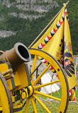 Yellow cannon and flag Stock Image