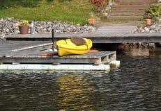 Yellow canoe boat Royalty Free Stock Photography