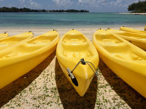 Yellow Canoe Kayak. Yellow canoes kayaks left at a sandy beach with blue sky and water in the background Stock Photography