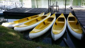 Yellow canoes or kayaks Stock Photography