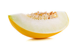 Yellow cantaloupe isolated on the white background Stock Photos