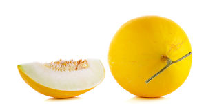 Yellow cantaloupe isolated on the white background Royalty Free Stock Images