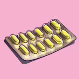 Yellow Caplets In Blister Pack. Medication. Yellow caplets in a foil and plastic blister pack Stock Photo