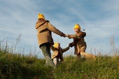 Yellow caps gnomes Royalty Free Stock Image