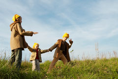 Yellow caps gnomes Royalty Free Stock Photos