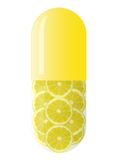 Yellow capsule with lemons Royalty Free Stock Photo