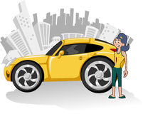 Yellow car. Woman with yellow sport car and city on the background Stock Photography