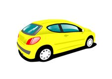 Yellow car. Small yellow car over white background Stock Images