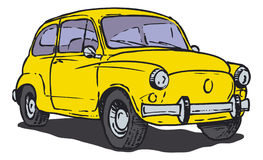 Yellow car. A yellow old-timer (Fiat 600) on the other half of the twentieth century Royalty Free Stock Image
