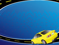 Yellow car. On the blue background Royalty Free Stock Photos
