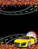 Yellow car. On the abstract background Royalty Free Stock Photos