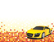 Yellow car. On the abstract background Stock Images