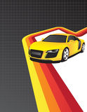 Yellow car. On the colorful background Stock Photos