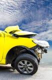 Yellow car accident Stock Photo