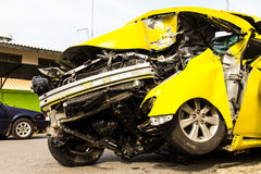 Yellow car accident Royalty Free Stock Images