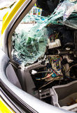 Yellow car accident. Inside of the yellow car accident which demolished broken glass Royalty Free Stock Photo