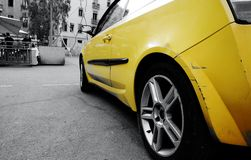 Yellow car in Barcelona Stock Photo
