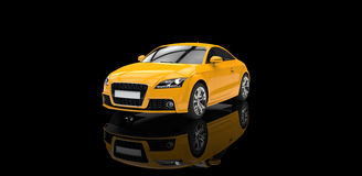 Yellow Car In Black Showroom Stock Images