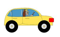 A yellow car with black wheels and an unshaven driver with a control stick. Stock Images