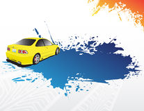 Yellow car and blue splash. With place for your text Royalty Free Stock Photos