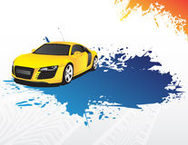 Yellow car and blue splash. On the white background Royalty Free Stock Images