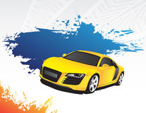 Yellow car and blue splash. On the bright background Stock Photos