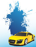 Yellow car and blue splash Royalty Free Stock Images