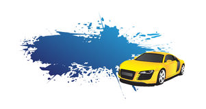 Yellow car and blue splash. On the white background Stock Image
