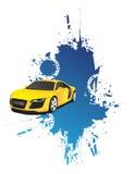 Yellow car and blue splash Stock Photos