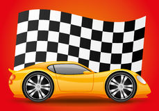 Yellow car and checkered flag. Yellow car and checkered flag on a red background Stock Photos