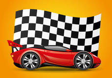 Yellow car and checkered flag. Yellow car and checkered flag on a red background Stock Image