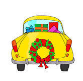 Yellow car with Christmas wreath Royalty Free Stock Images