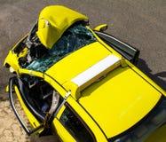 Yellow car collision Stock Photo