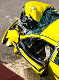 Yellow car collision Royalty Free Stock Image