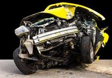 Yellow car crash Stock Photography