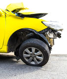 Yellow car crash Stock Image