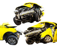 Yellow car crash. Sets isolate perspective front yellow car crash caused by accident royalty free stock image