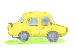 Yellow car, kid`s drawing by pencil Stock Images